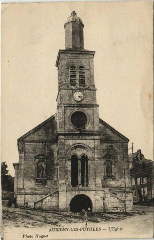 Carte postale ancienne Aubigny-les-Pothees - L'Eglise à Aubigny-les-Pothées