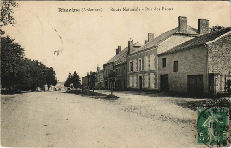 Carte postale ancienne Rimogne - Route Nationale à Rimogne