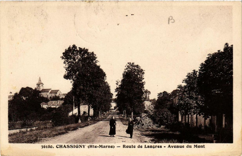 Carte postale ancienne Chassigny Route de Langres à Chassigny
