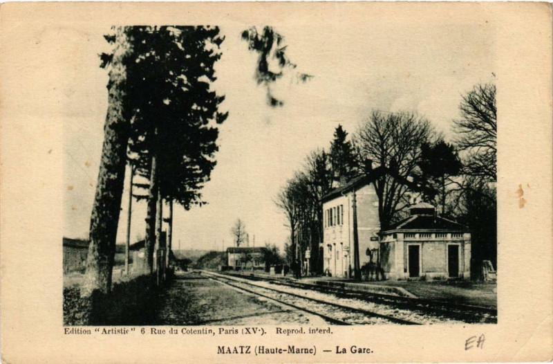 Carte postale ancienne Maatz La Gare à Maâtz