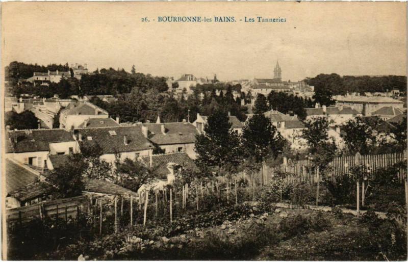Carte postale ancienne Bourgonne-les-Bains - Les tanneries à Bourg