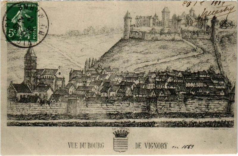Carte postale ancienne Vue du Bourg de Vignory à Bourg