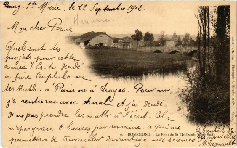 Carte postale ancienne Bourmont - Le Pont de Saint-Thiebault à Saint-Thiébault
