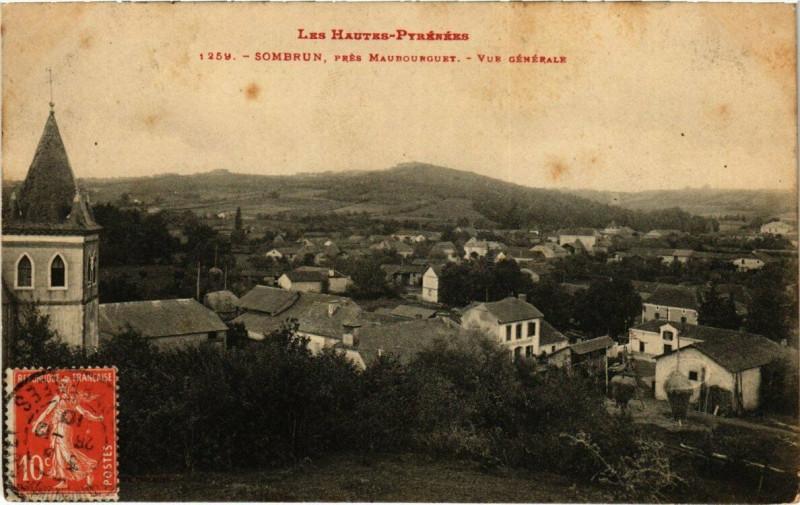 Carte postale ancienne Sombrun - Prés Maubourguet - Vue générale à Sombrun