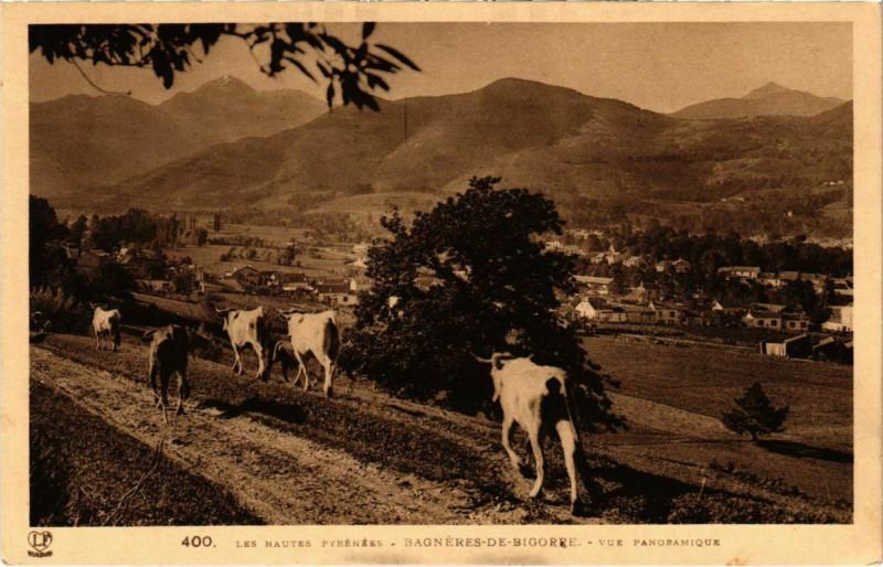 Carte postale ancienne Bagneres-de-Bigorre - Vue panoramique à Bagnères-de-Bigorre