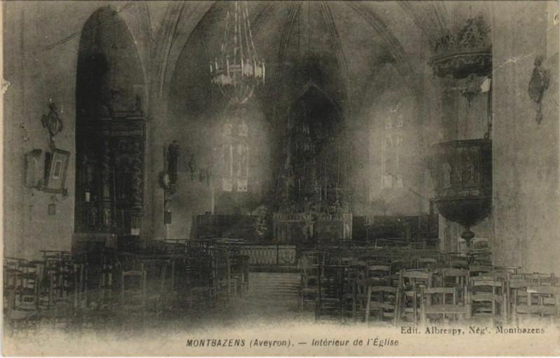 Carte postale ancienne Montbazens - Interieur de l'Eglise à Montbazens