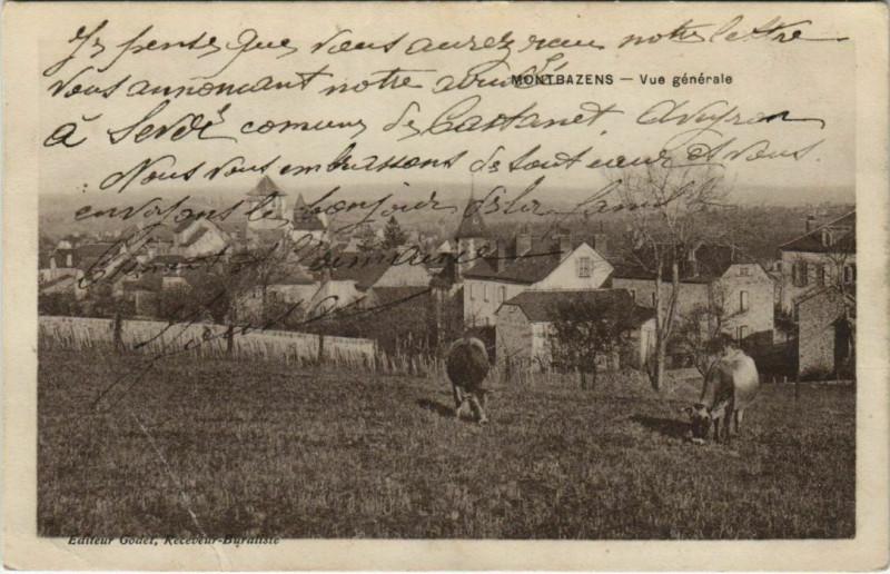Carte postale ancienne Montbazens - Vue générale à Montbazens