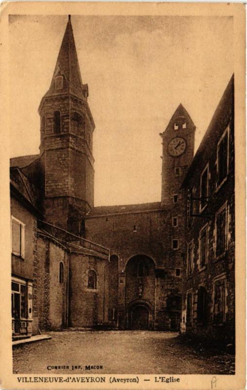 Carte postale ancienne Villeneuve d'Aveyron - L'Eglise à Villeneuve