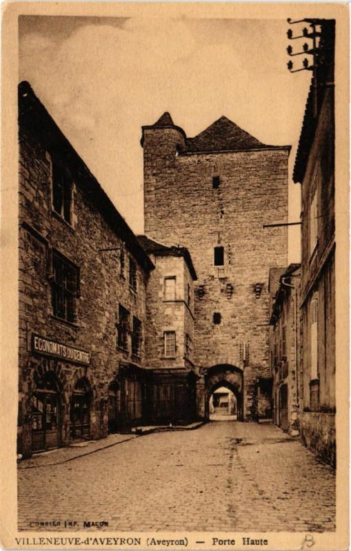 Carte postale ancienne Villeneuve d'Aveyron - Porte Haute à Villeneuve