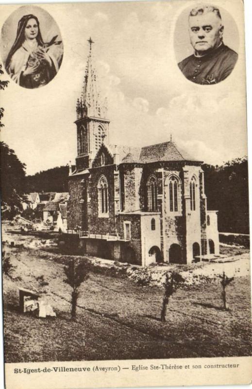 Carte postale ancienne Saint-Igest-de-Villeneuve - Eglise Sainte-Thérése et son constructeur à Villeneuve