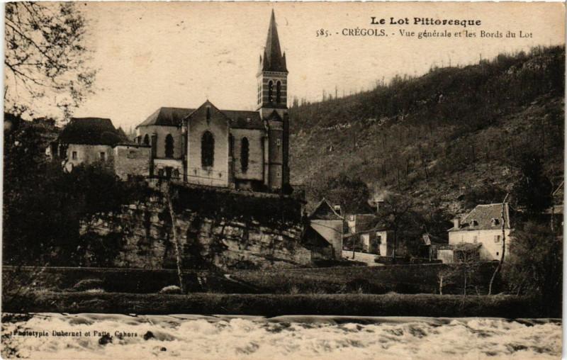 Carte postale ancienne Le Lot Pittoresque - Cregols - Vue générale et les Bords du Lot à Crégols