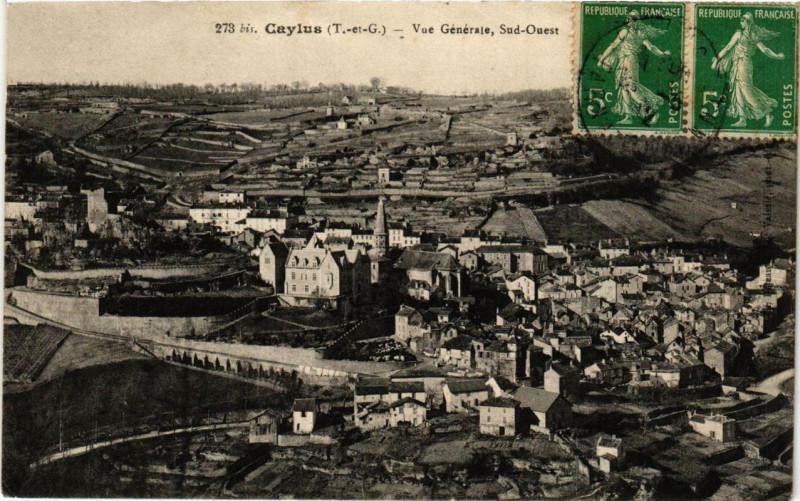 Carte postale ancienne Caylus Vue générale, Sud-Ouest à Caylus