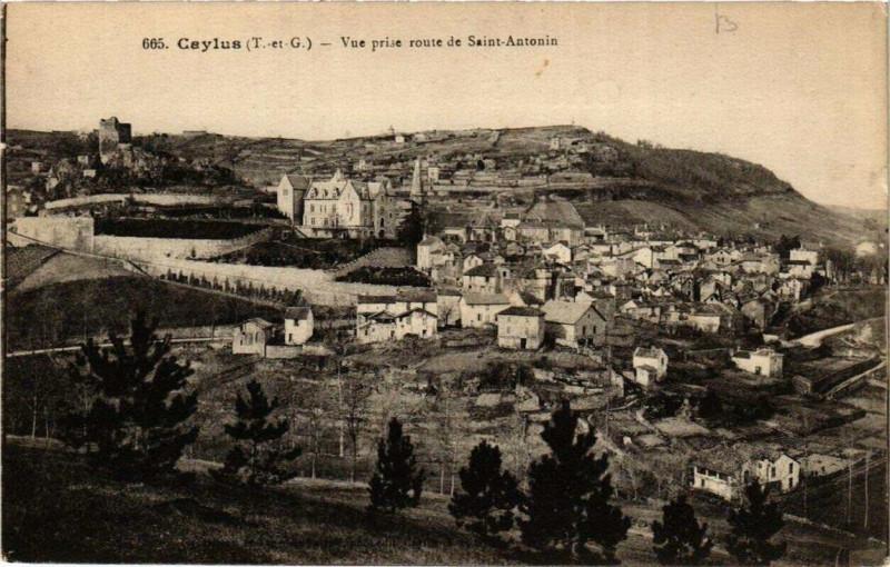 Carte postale ancienne Caylus Vue prise route de Saint-Antonin à Caylus