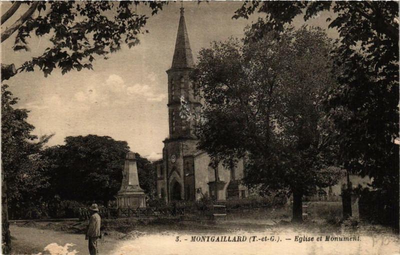 Carte postale ancienne Montgaillard Eglise et Monument à Montgaillard