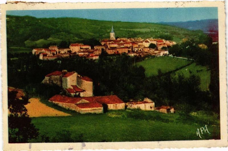 Carte postale ancienne Verfeil-sur-Seye Vue générale et le Chateau de Rhodes à Verfeil