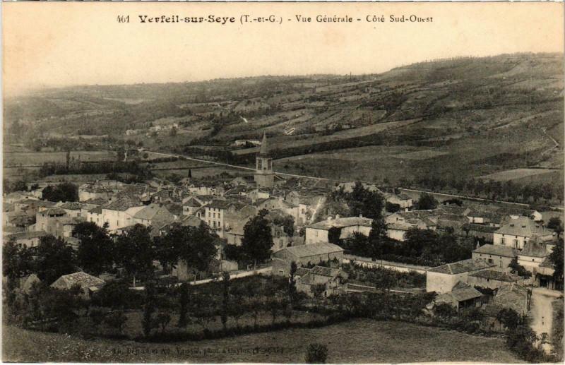Carte postale ancienne Verfeil sur Seye - Vue générale à Verfeil