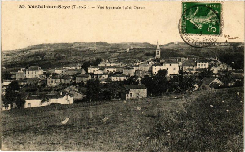 Carte postale ancienne Verfeil-sur-Seye (T.-et-G.) - Vue générale (cote Ouest) à Verfeil
