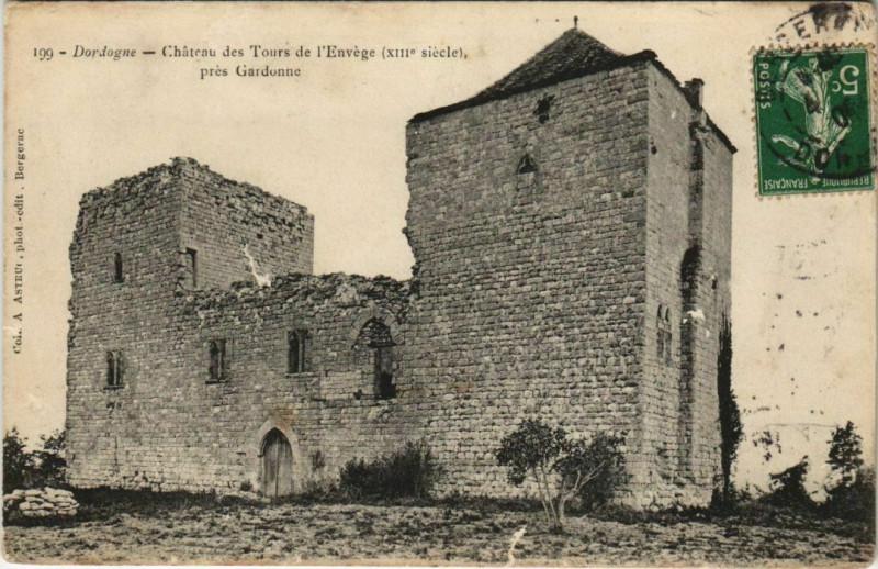 Carte postale ancienne Chateau des Tours de l'Envege - pres Gardonne à Gardonne