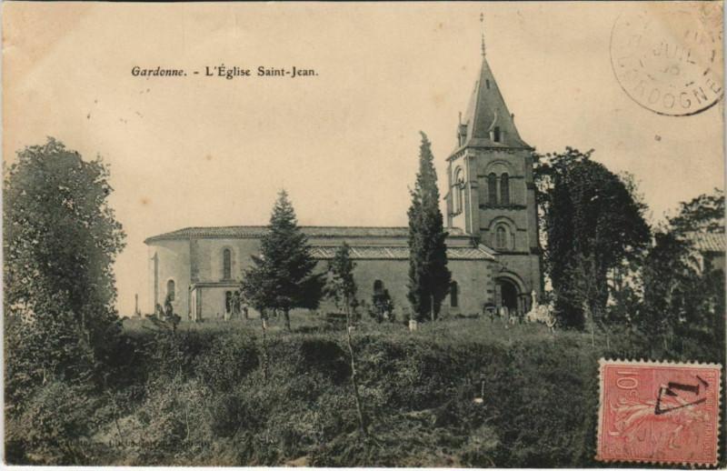 Carte postale ancienne Gardonne - L'Eglise Saint-Jean à Gardonne