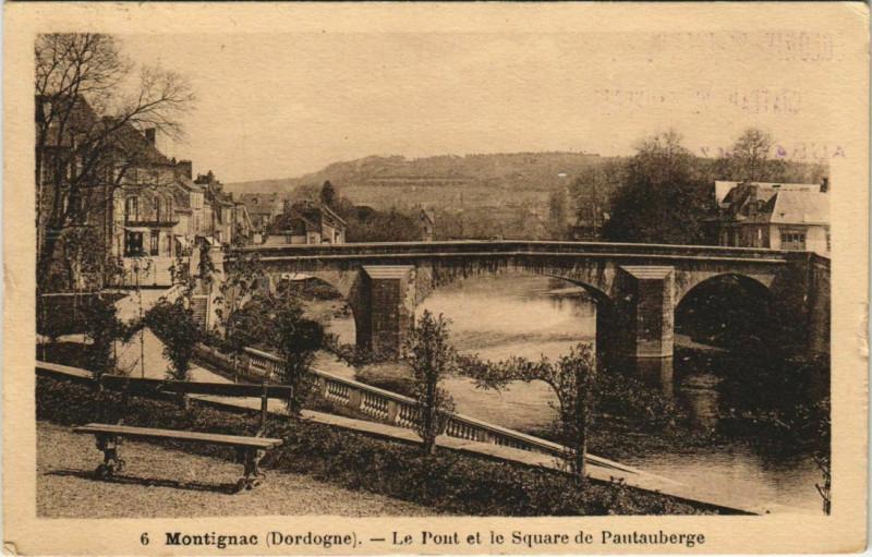 Carte postale ancienne Montignac - Le Pont et le Square de Pautauberge à Montignac