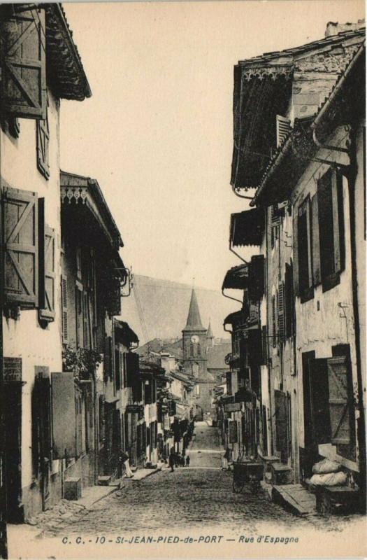 Carte postale ancienne Saint-Jean-Pied-de-Port Rue d'Espagne à Saint-Jean-Pied-de-Port