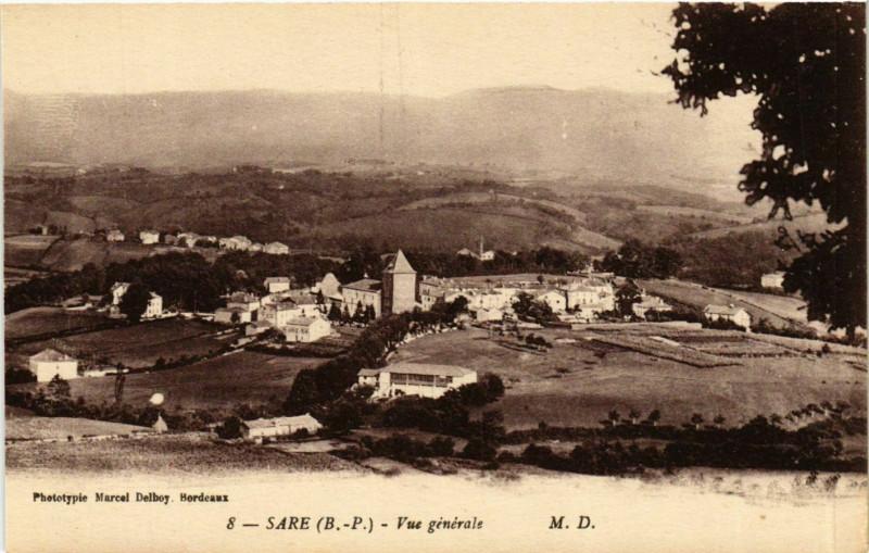 Carte postale ancienne Sare Vue générale à Sare
