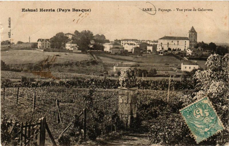 Carte postale ancienne Eskual Herris (Pays Basque) - Sare-Paysage - Vue prise de Galarrets à Sare