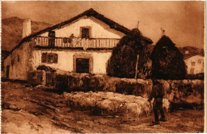 Carte postale ancienne Pays Basque Ferme basque a Osses à Ossès