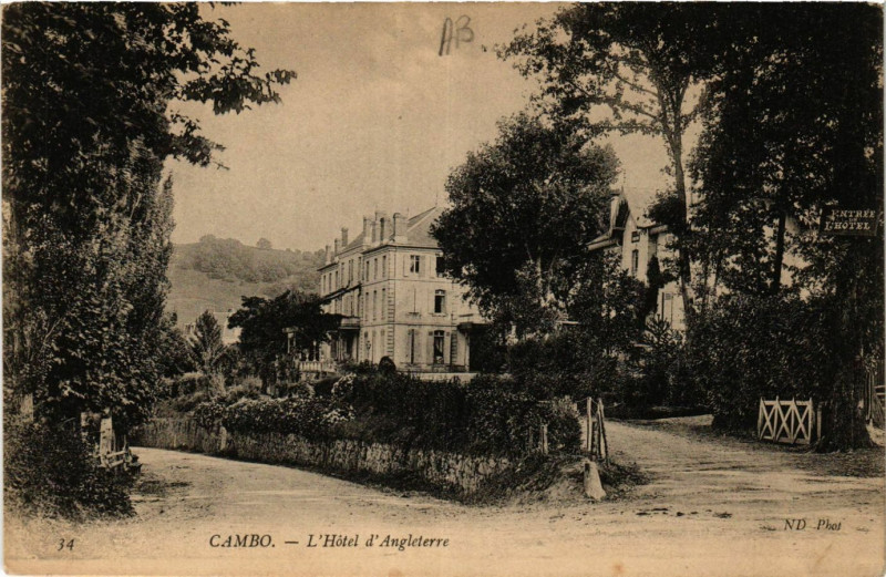 Carte postale ancienne Cambo L'Hotel d'Angleterre à Anglet