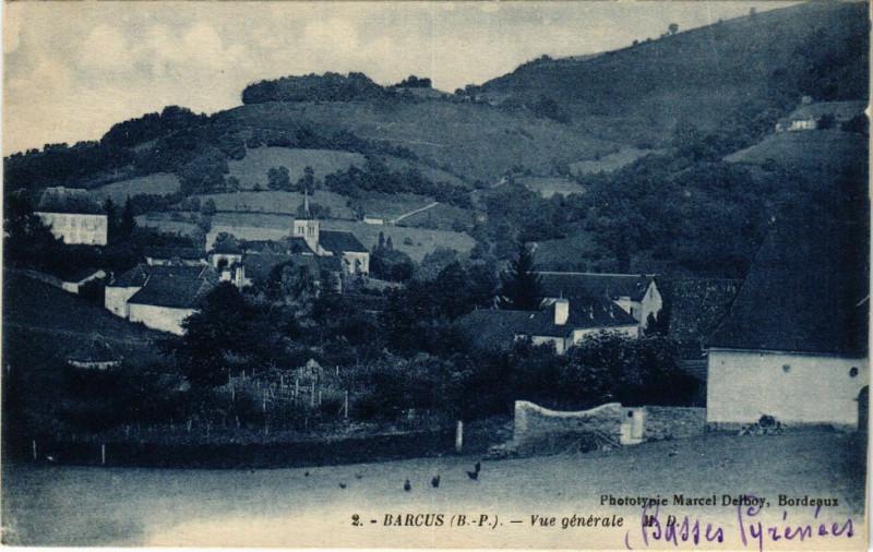 Carte postale ancienne Barcus - Vue générale à Barcus