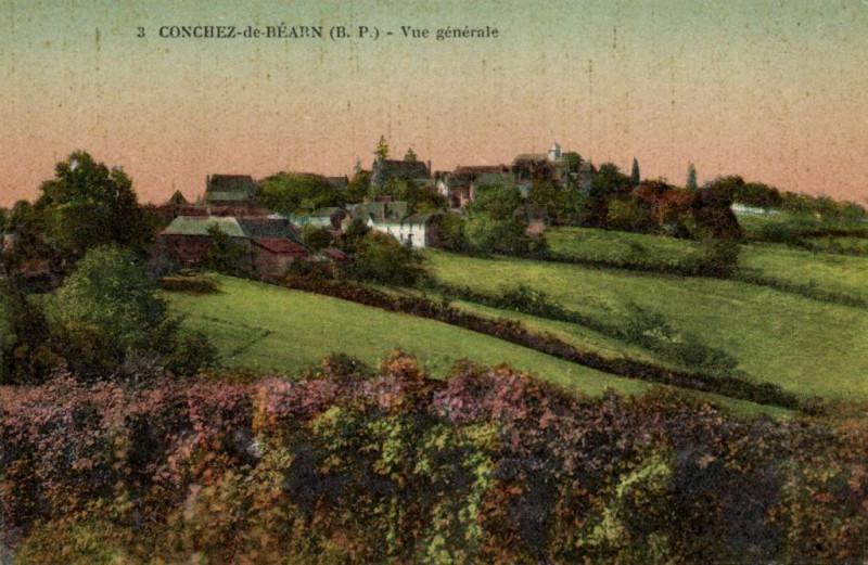 Carte postale ancienne Conchez-de-Bearn - Vue générale à Conchez-de-Béarn