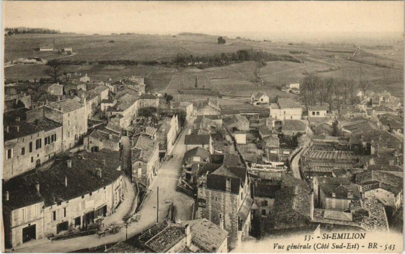 Carte postale ancienne Saint-Emilion - Vue générale (Cote Sud-Est) à Saint-Émilion