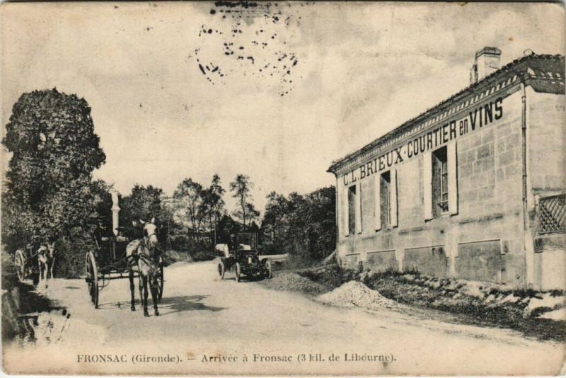 Carte postale ancienne Fronsac - Arrivée a Fronsac à Fronsac