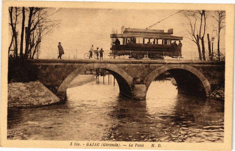 Carte postale ancienne Bis - Gajac - Le pont à Gajac