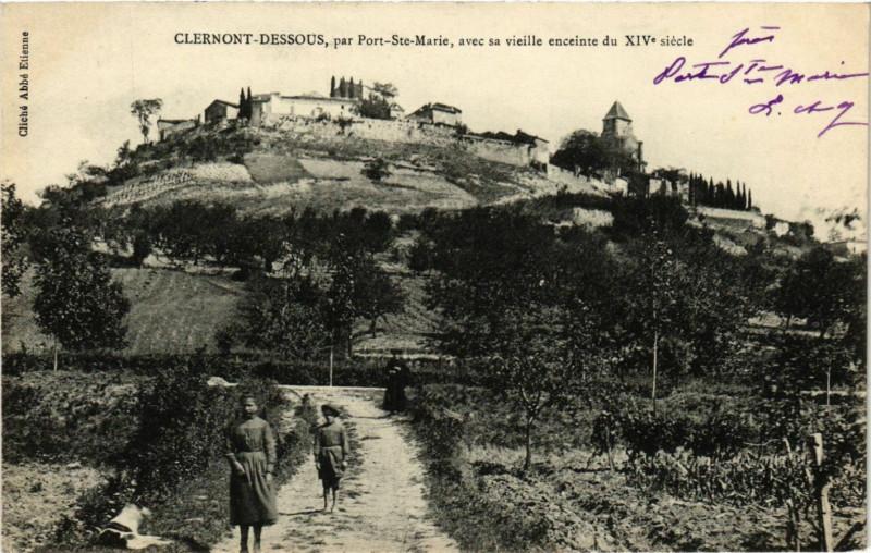 Carte postale ancienne Clermont-Dessous - Vue - par Port-Sainte-Marie à Clermont-Dessous