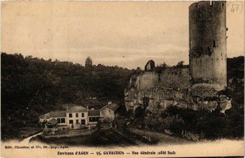 Carte postale ancienne Gavaudun - Vue générale - coté Sud - Env. d'Agen à Gavaudun