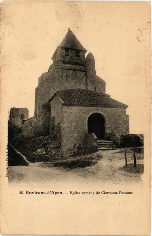 Carte postale ancienne Clermont-Dessous - Env. d'Agen - Eglise romane à Clermont-Dessous