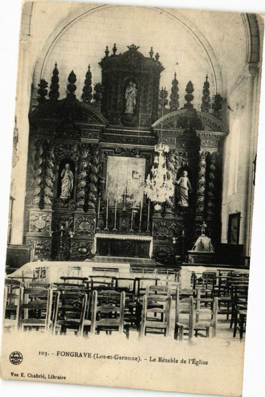 Carte postale ancienne Fongrave - Le Retable de l'Eglise à Fongrave