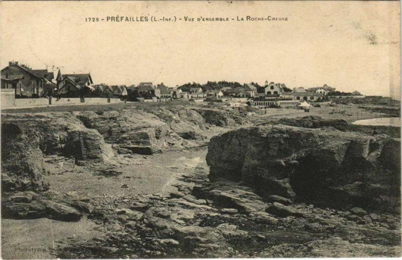 Carte postale ancienne Prefailles Vue D'Ensemble La Roche Creuse à Préfailles