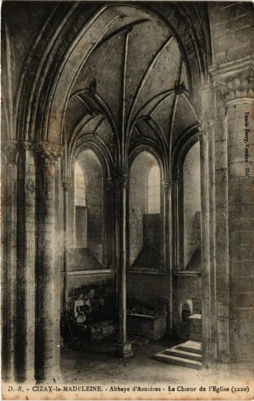 Carte postale ancienne Cizay-la-Madeleine - Abbaye d'Asnieres Le Choeur de l'Eglise à Cizay-la-Madeleine