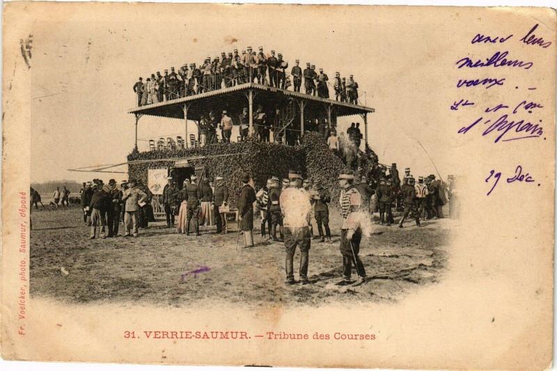 Carte postale ancienne Verrie-Saumur - Tribune des Courses à Verrie