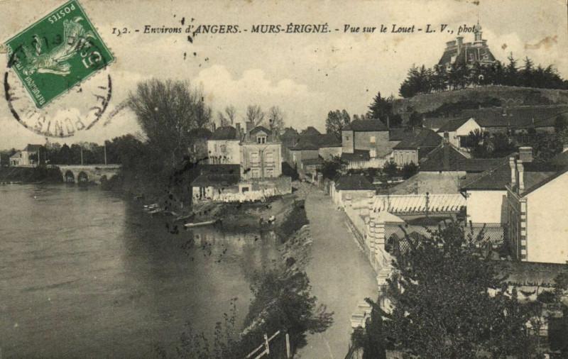 Carte postale ancienne Env. d'Angers - MURS_Erigne - Vue sur le Louet à Mûrs-Erigné