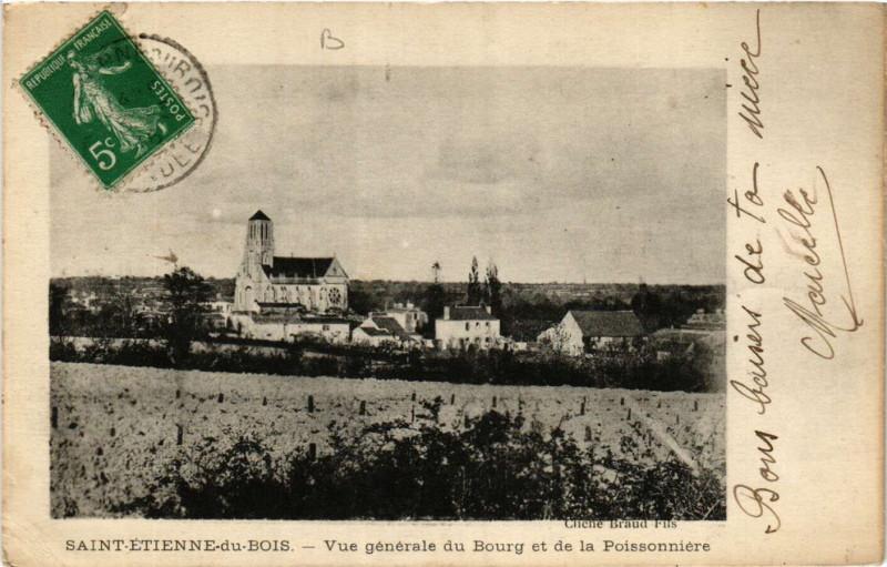 Carte postale ancienne Saint-Etienne-du-Bois - Vue générale du Bourg à Saint-Étienne-du-Bois