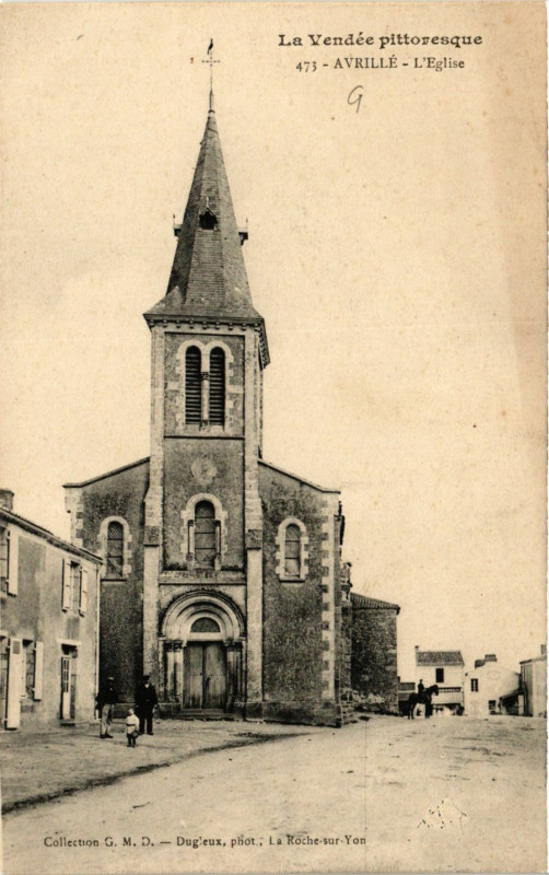 Carte postale ancienne La Vendée Pitt. - Avrille - L'Eglise à Avrillé