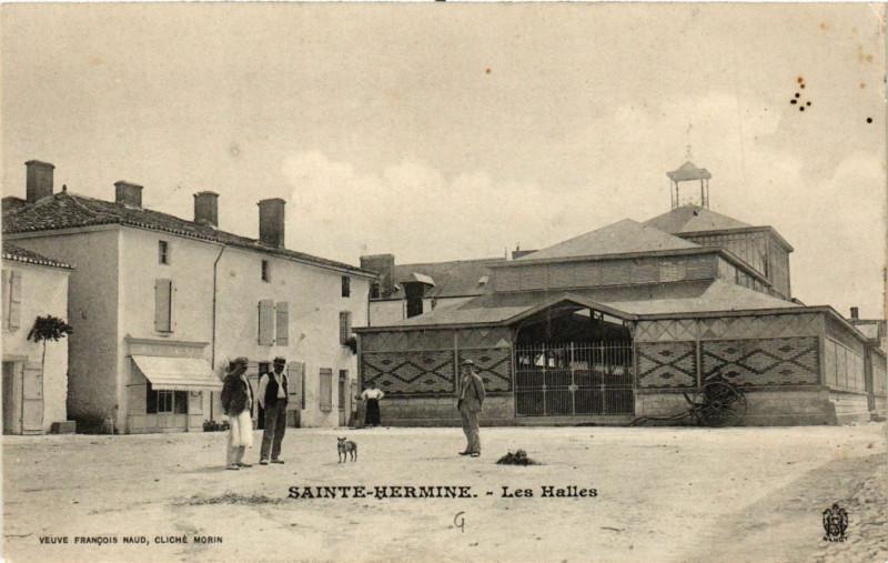 Carte postale ancienne Sainte-Hermine - Les Halles à Sainte-Hermine
