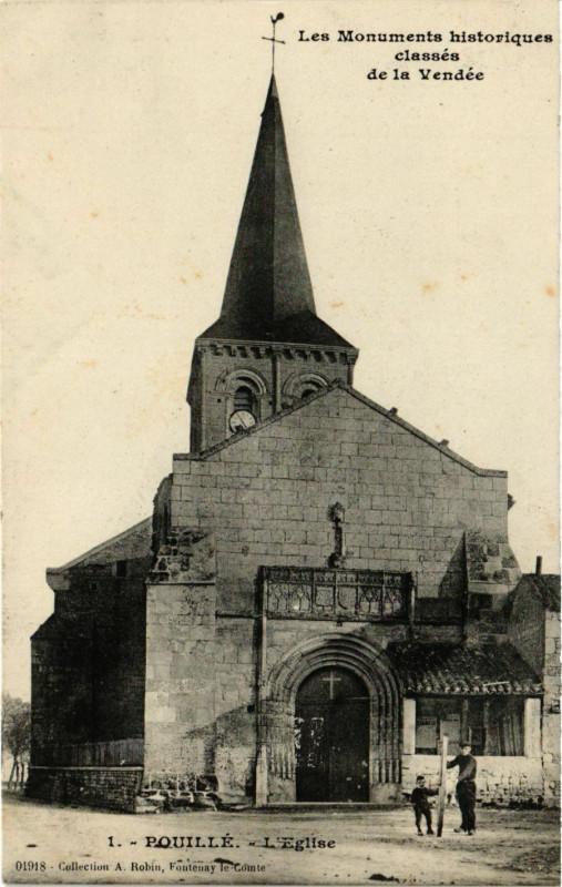 Carte postale ancienne Pouille - L'Eglise à Pouillé