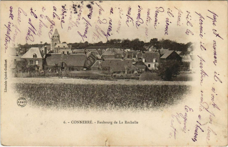 Carte postale ancienne Connerre Faubourg de la Rochelle à Connerré