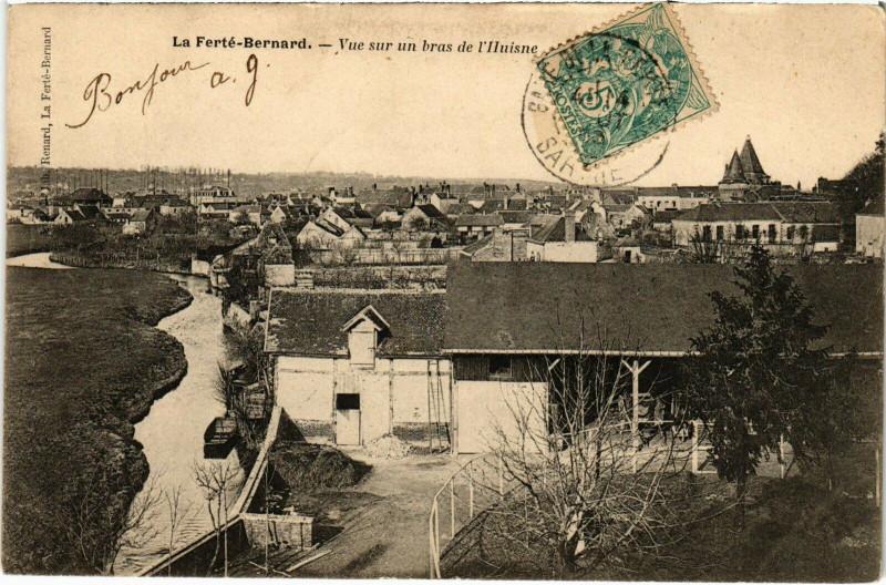 Carte postale ancienne La Ferte-Bernard - Vue sur un bras de l'Huisne à La Ferté-Bernard