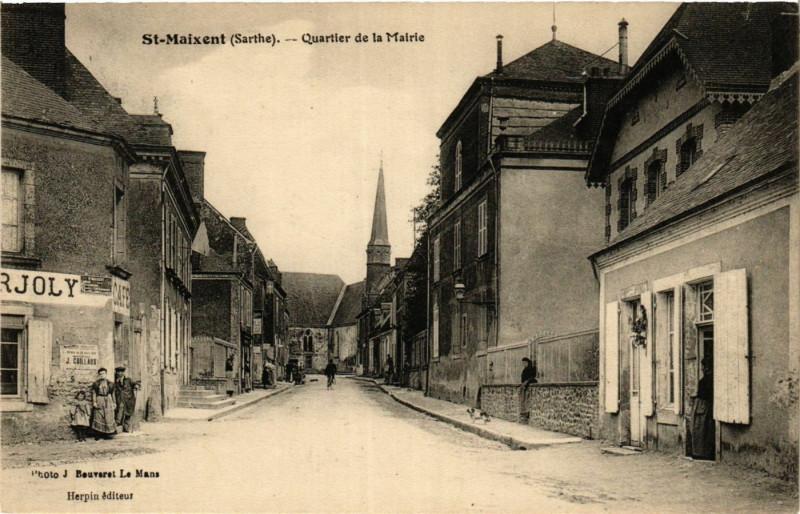 Carte postale ancienne Saint-Maixent - Quartier de la Mairie à Saint-Maixent
