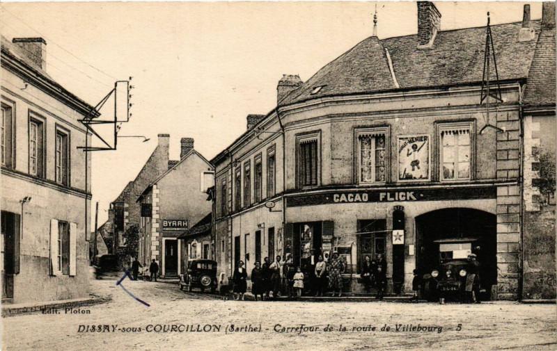 Carte postale ancienne Dissay-sous-Courcillon - Carrefour de la route de Villebourg à Dissay-sous-Courcillon